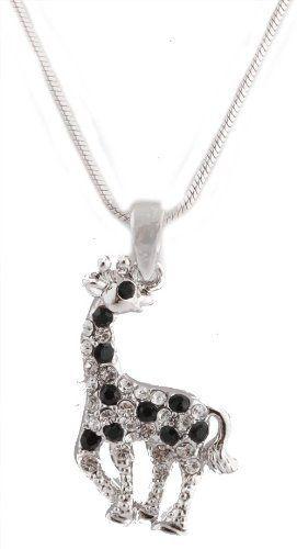 Giraffe Austrian Crystal Pendant Charm Black Silver Tone Necklace