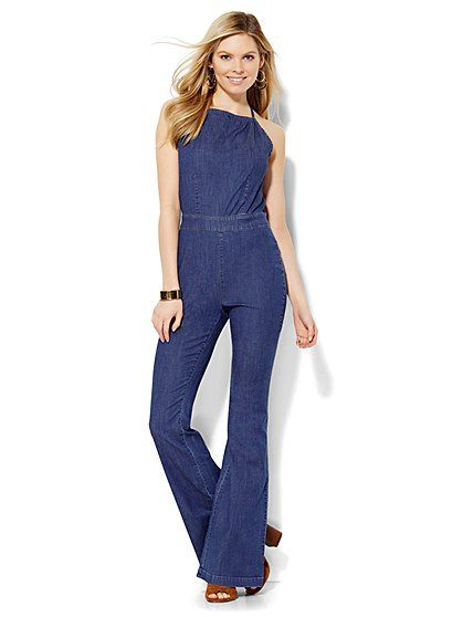 Soho Jeans Halter Jumpsuit - Theatrical Blue Wash - New York ...