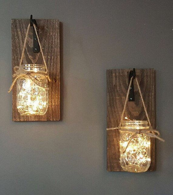 Set of 2 hanging mason jar sconces mason jar sconces mason jar decor rustic decor housewarming gift illuminated mason jar ... - Mary's Secret World
