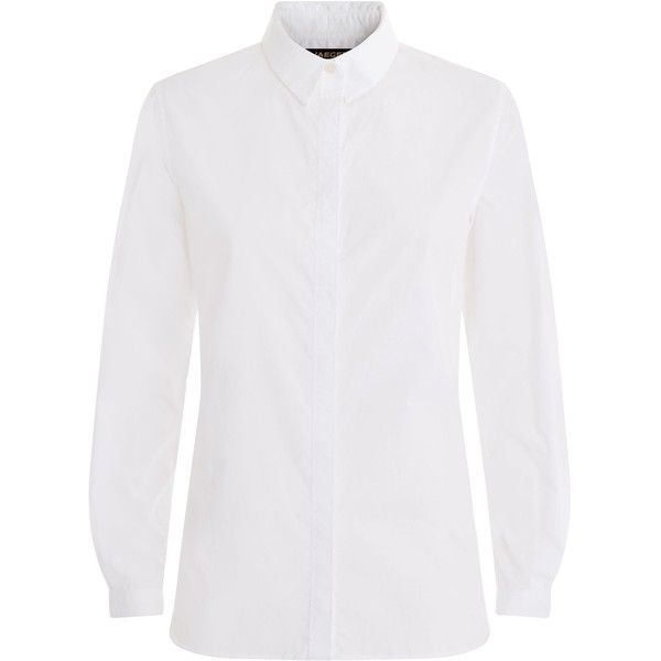 Jaeger Cotton Poplin Work Shirt (125 CAD) ❤ liked on Polyvore featuring tops, t-shirts, white, women, white t shirt, stitch shirt, white top, white tee and utility shirt