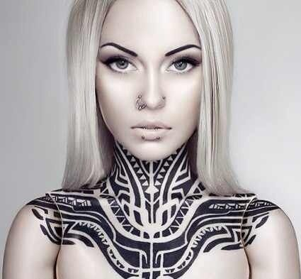 Pin By Cytherea Ny On European Tattoo Models Tribal Neck Tattoos Neck Tattoos Women Tribal Tattoos For Women
