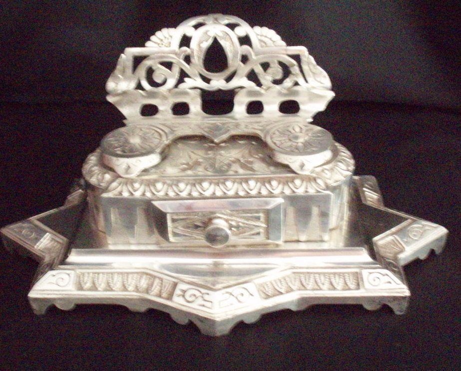 Simply a WOW item, gift idea! Antique Victorian Inkwell. The Store has it on SALE! A hint for YOU ♥ It's price is reduced!! ♥  double inkwell desk set nickle plated Victorian antique