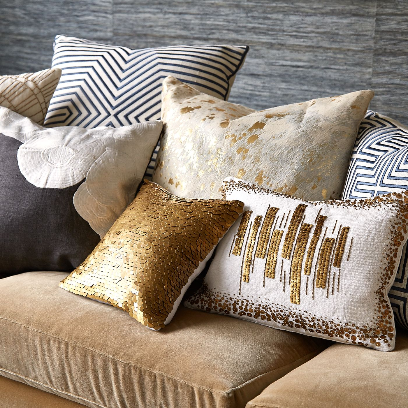 Talitha Discs Pillow Modern Home Decor Luxury Gifts Mid Century Modern Furniture Metallic Throw Pillow Cowhide Pillows Beige Couch Living Room