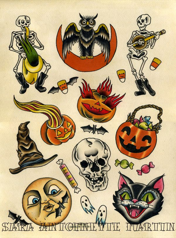 Pin By Becca Boophead On Old School Tattoo Halloween Tattoos Halloween Tattoo Flash Spooky Tattoos