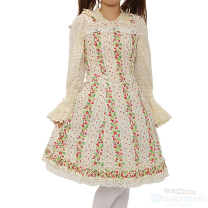[♡ There is a commodity of shirly Temple ♡] Strawberry pattern dress Small strawberry pattern is cute. Neat dress of white keynote. http://www.wunderwelt.jp/products/detail1508.html