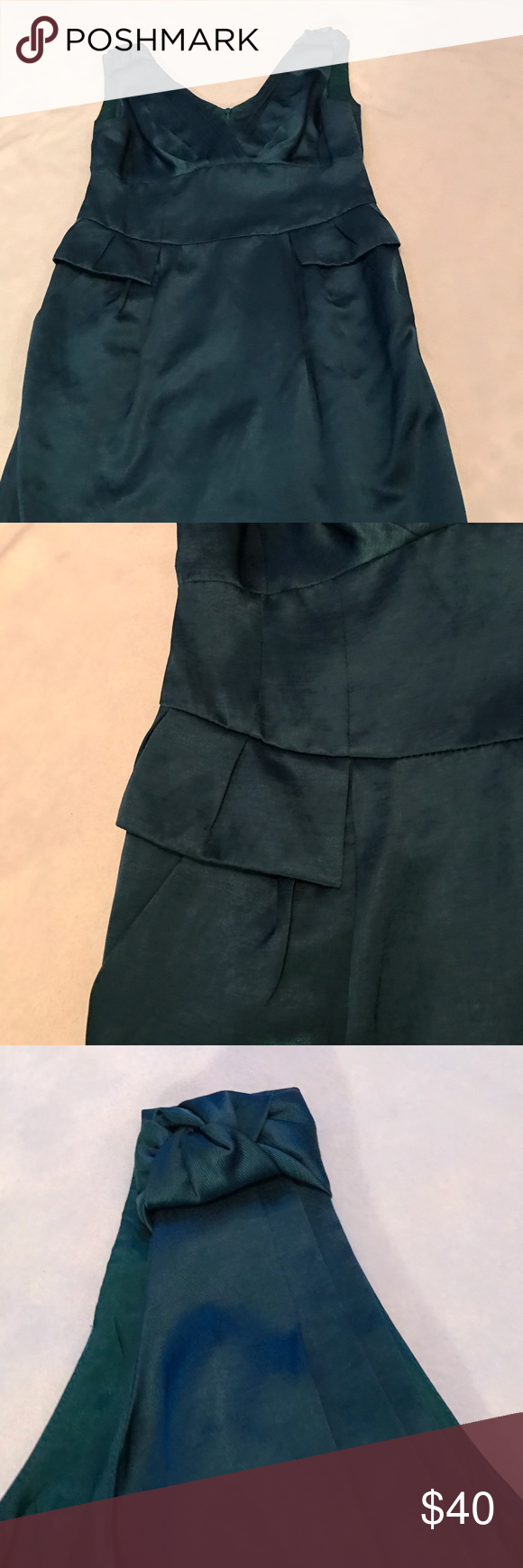 """Nanette Lepore Teal Peplum Dress 36"""" length. Has pockets on the front on both sides. Slit in the back. Never worn just took the tags off as shown in picture. Thicker strap on top. Teal color. Shinny silky material. Bundle 2+ items for a discount Nanette Lepore Dresses Midi"""