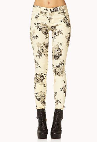 Rose Print Skinny Jeans | FOREVER 21 - 2073850589