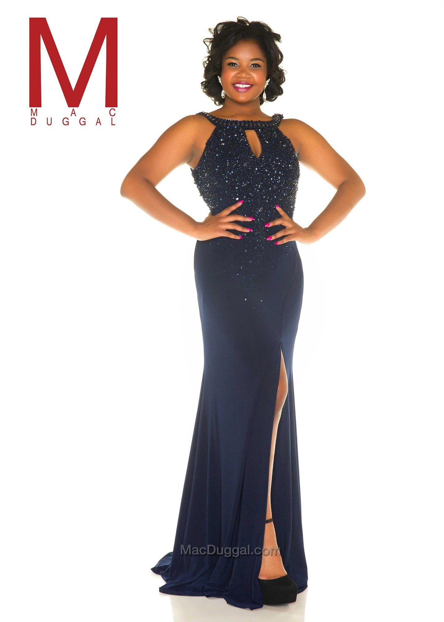 Mac duggal f jeweled halter style plus size prom gown
