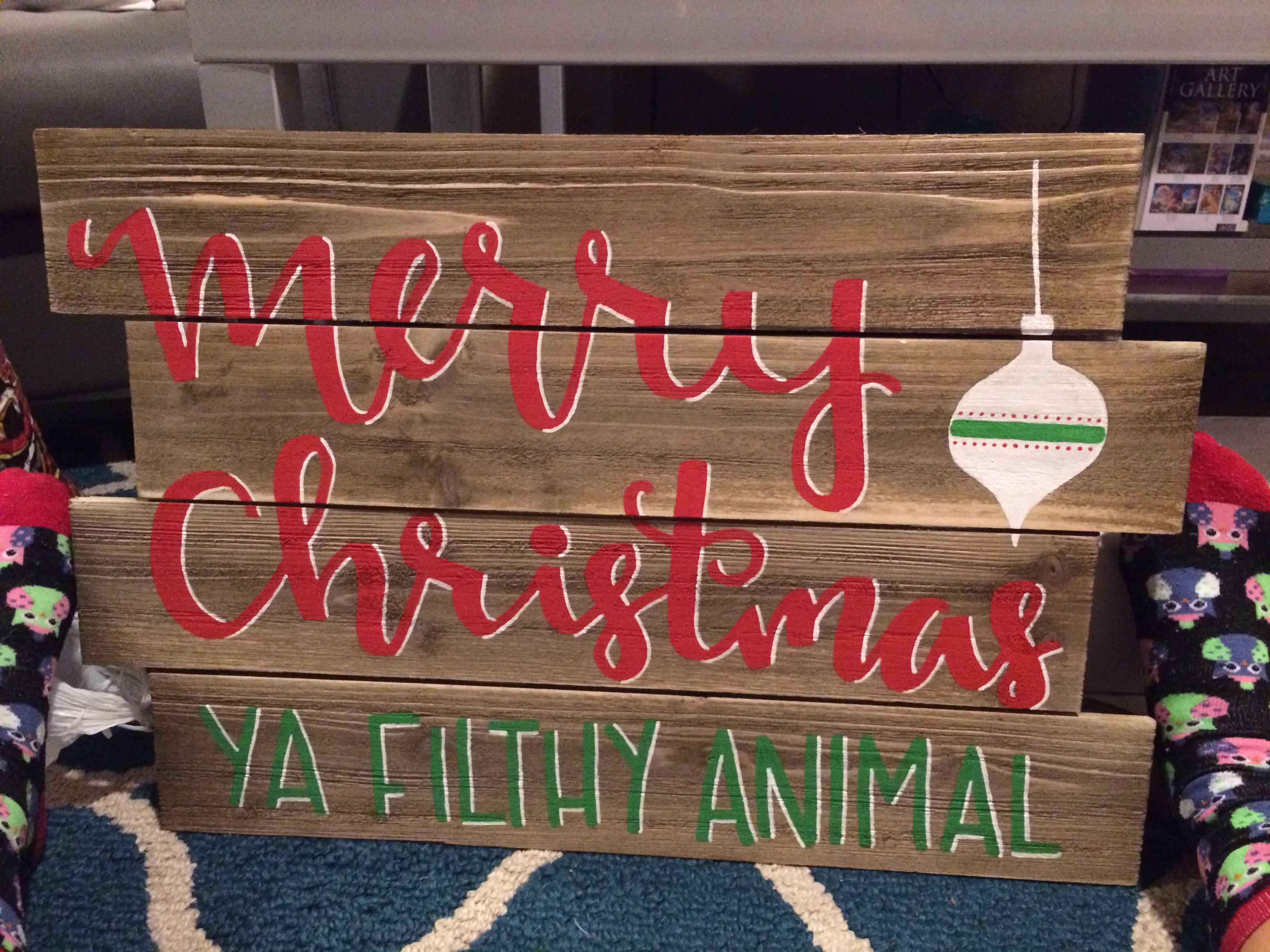 Christmas Wood Painted Sign