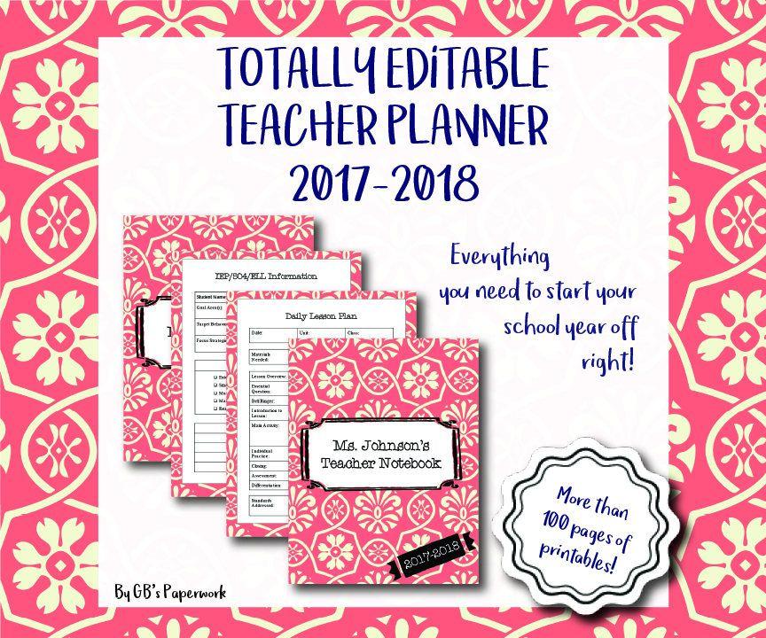 Fully Editable Printable 2017-2018 Teacher Binder (preppy coral