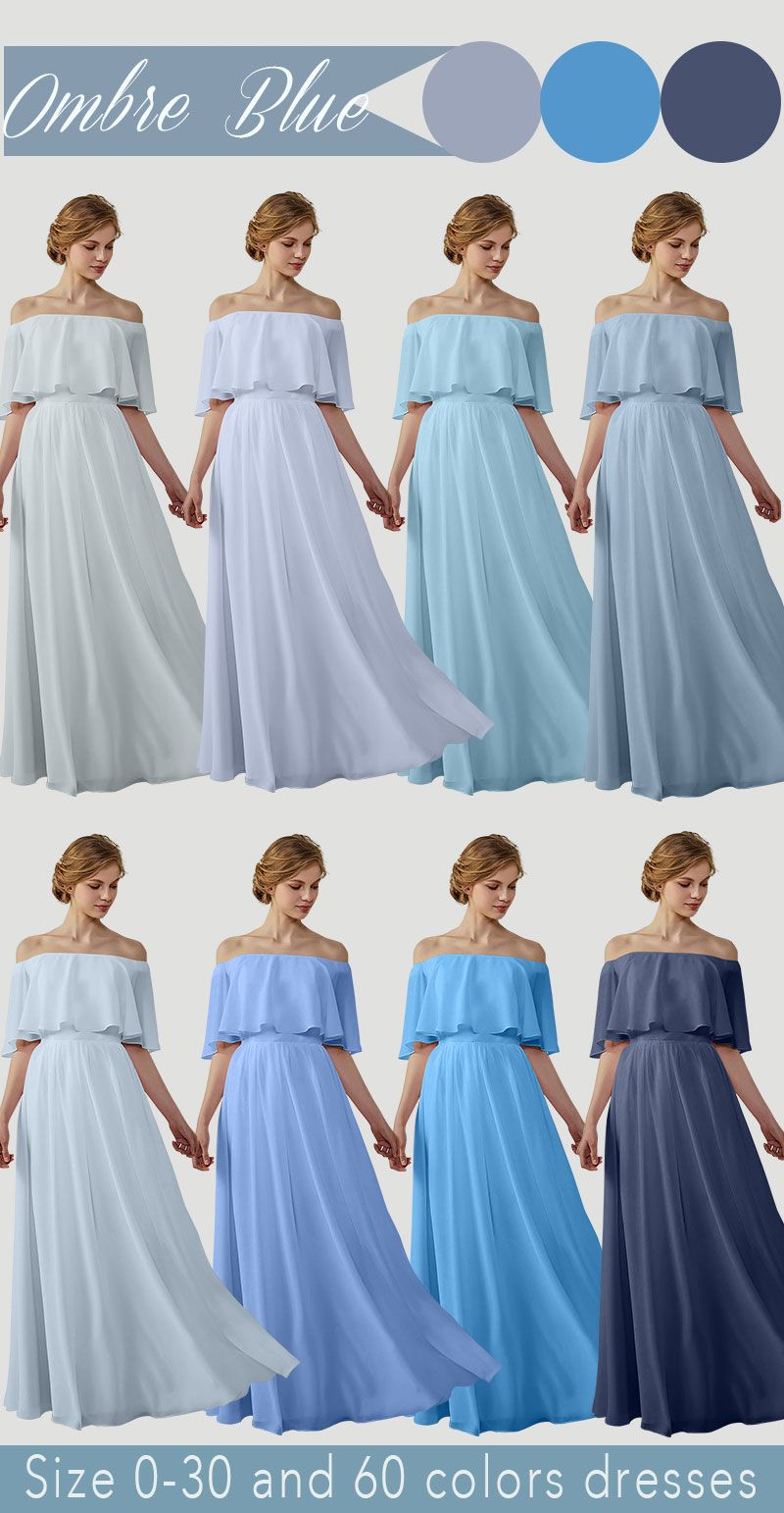 trendy chiffon bridesmaids dress ombre blue off the shoulder