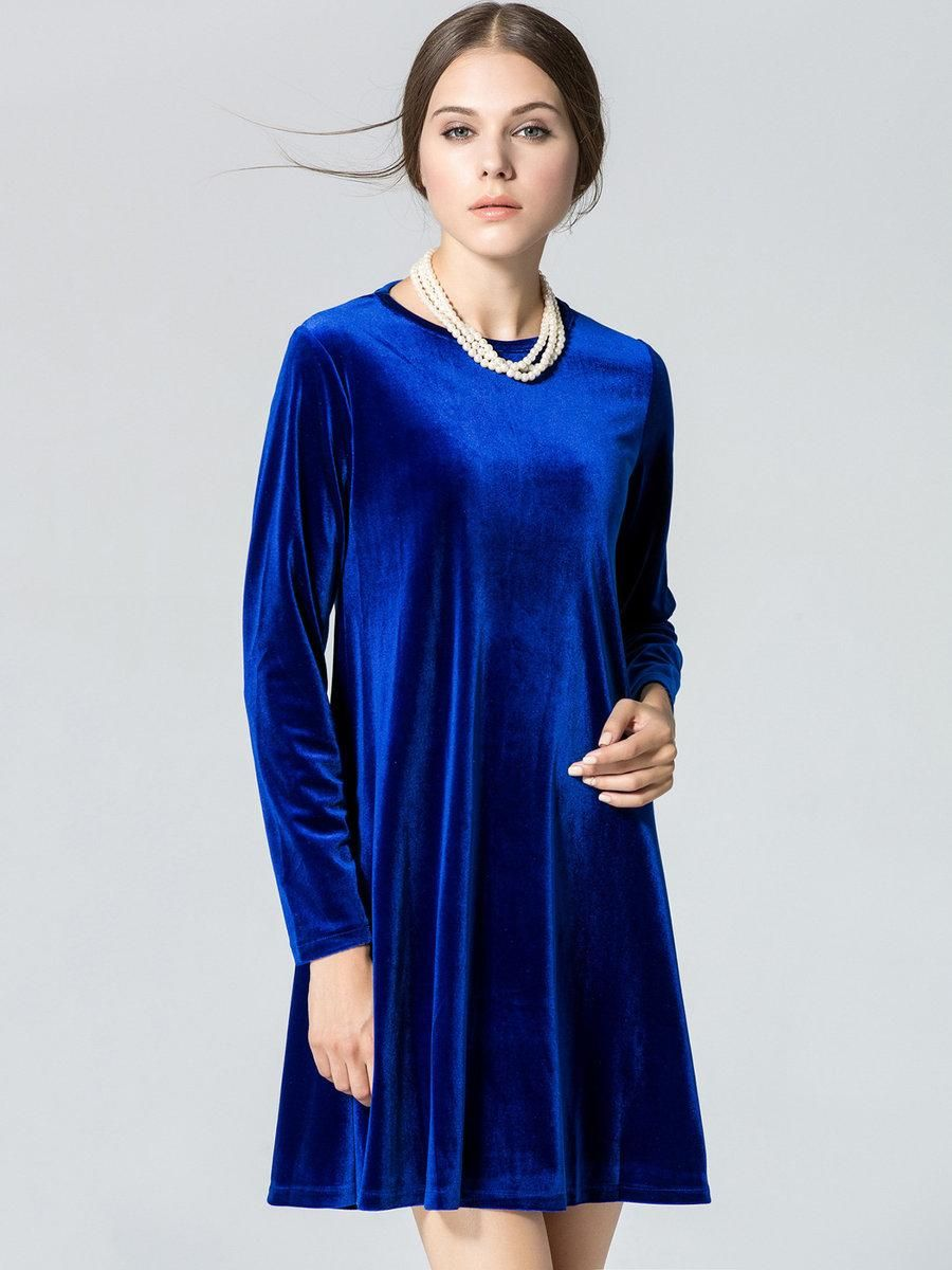 Royal blue long sleeve aline velvet dress a line products and