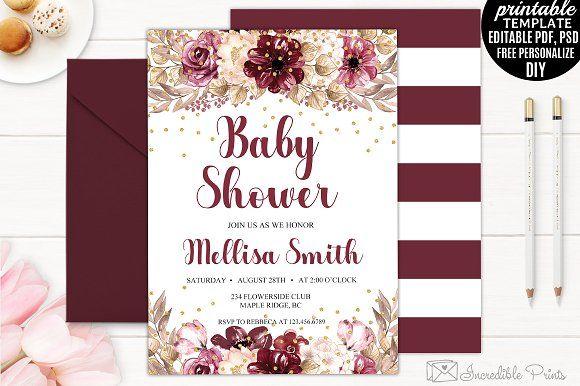 Marsala Baby Shower Invitation Baby Shower Invitations Baby Shower Invitation Templates Shower Invitations