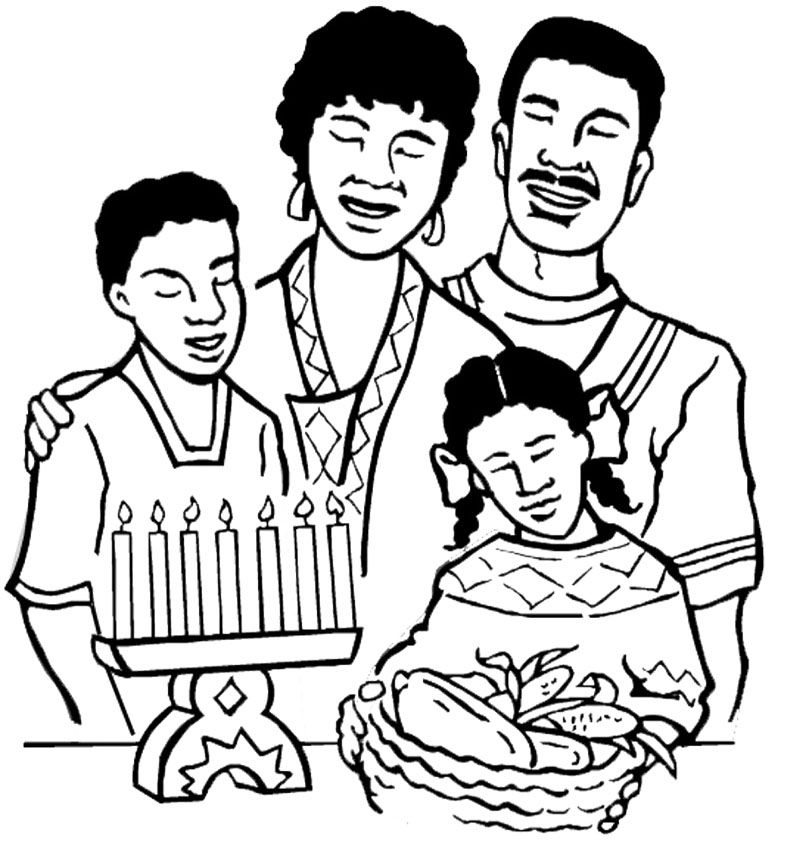 the big family happy kwanzaa coloring page - Free Kwanzaa Coloring Pages