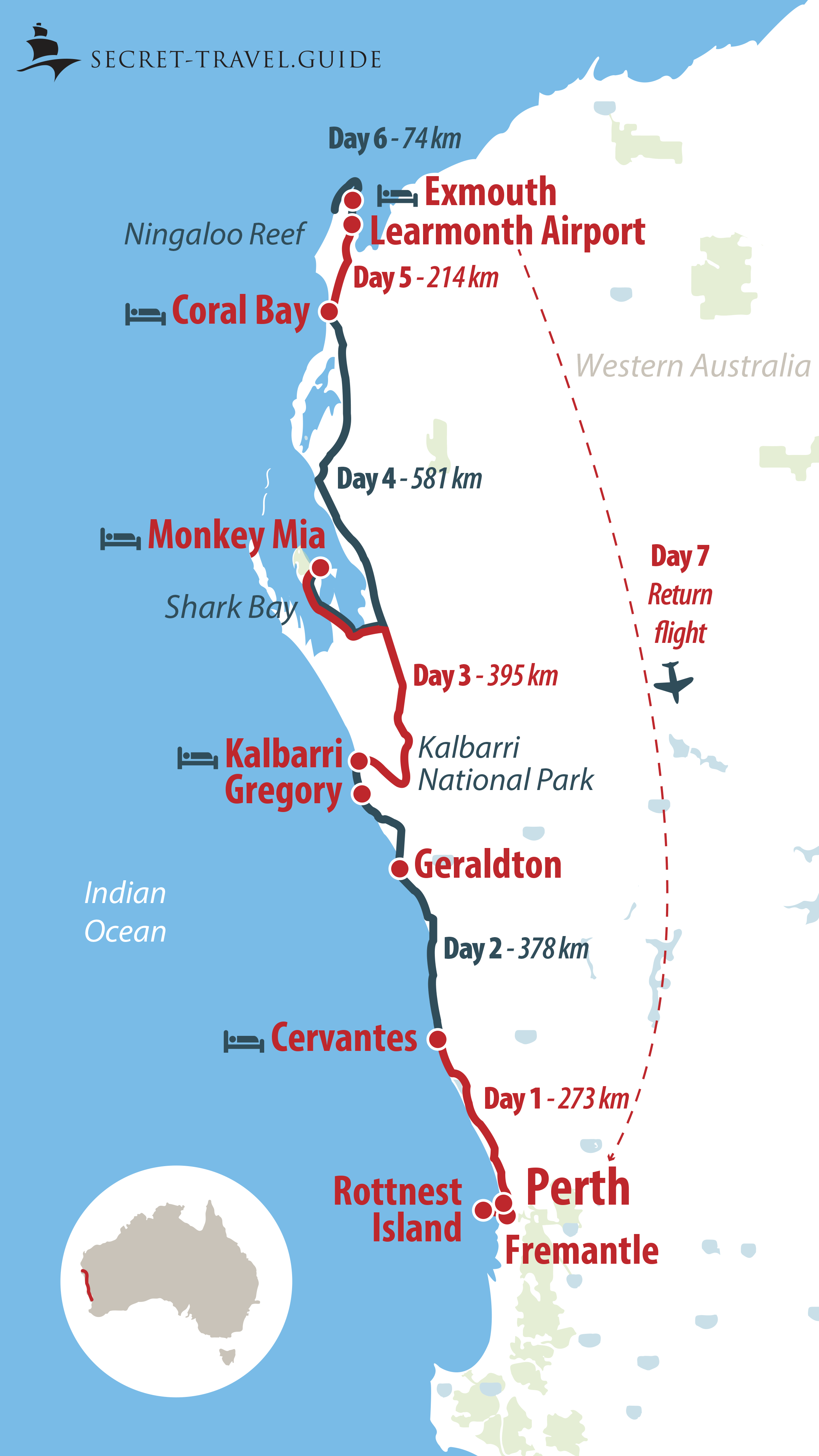 West Coast Of Australia Map.7 Days In Western Australia From Perth To Exmouth Western
