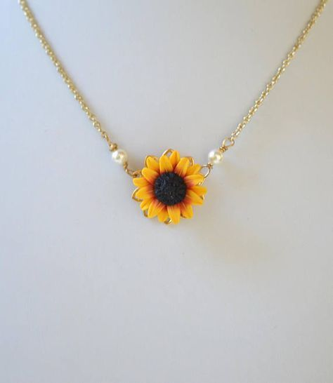 ORIGINAL Red Yellow Sunflower Pendant Necklace. Re