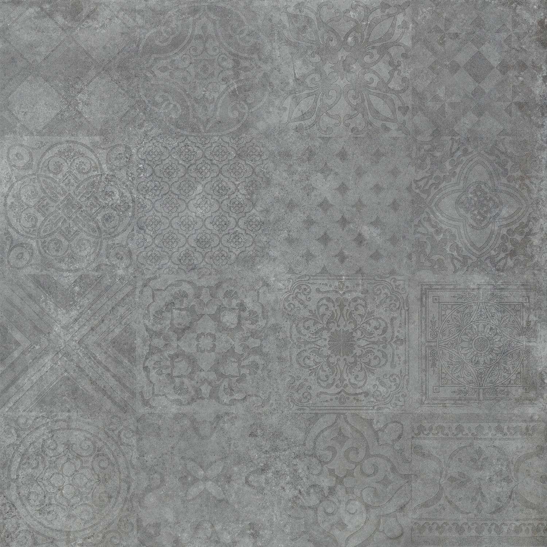 Dekorfliese – Bodenfliese Dekor Icon Dunkelgrau 60x60cm Rektifiziert