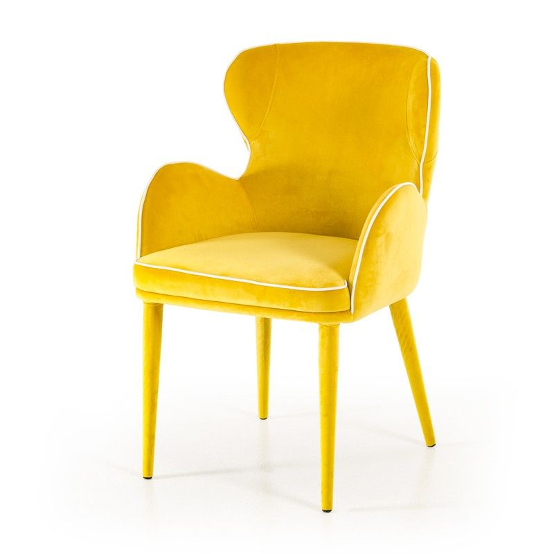 Modrest Tigard Mid Century Yellow Fabric Dining Chair With Images
