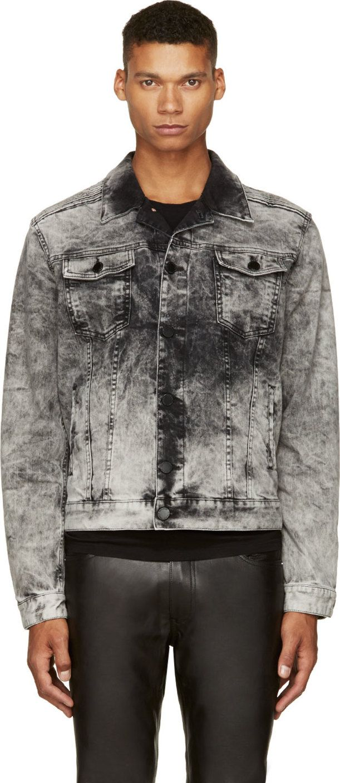 Pierre Balmain Gray Bleached Denim Trucker Jacket Bleached Denim Denim Jacket Men Diesel Denim Jacket [ 1408 x 611 Pixel ]