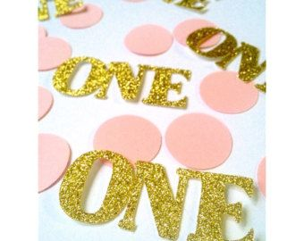 Pink and Gold 1st Birthday confetti by PartyPerfectBoutique