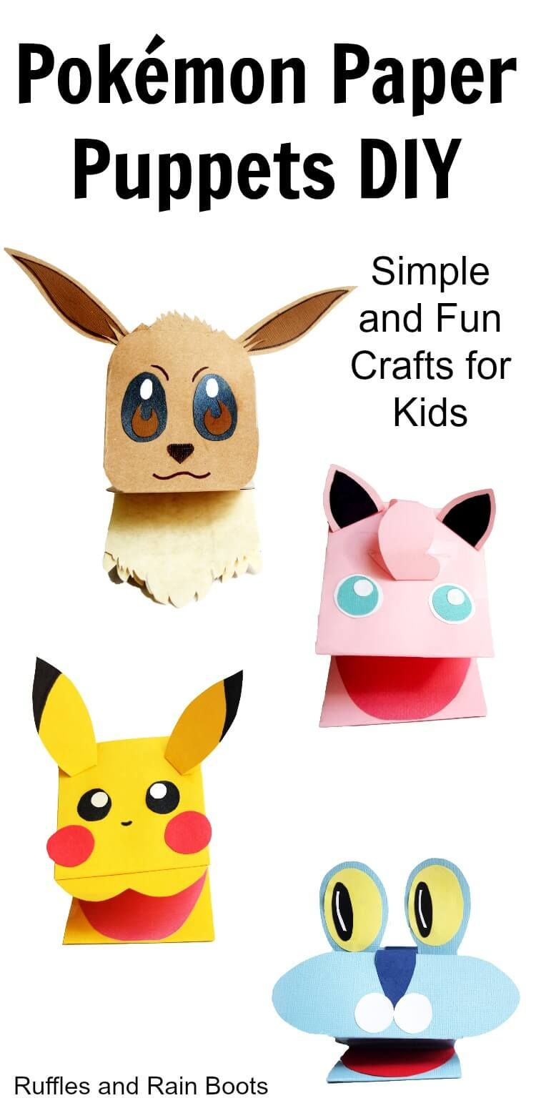 4 Insanely Adorable (and Easy) Pokémon Paper Puppets is part of Cool Kids Crafts For Girls - Make these adorable Pokemon paper puppets  It's such a quick, easy, and fun craft for kids and fans of Pokemon!