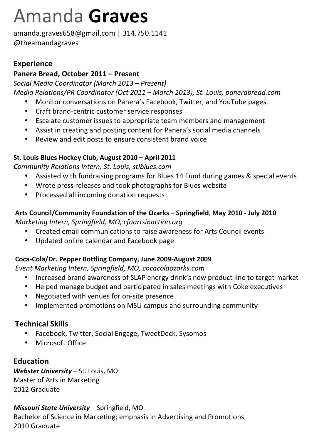Resume marketing socialmedia chicago Social media
