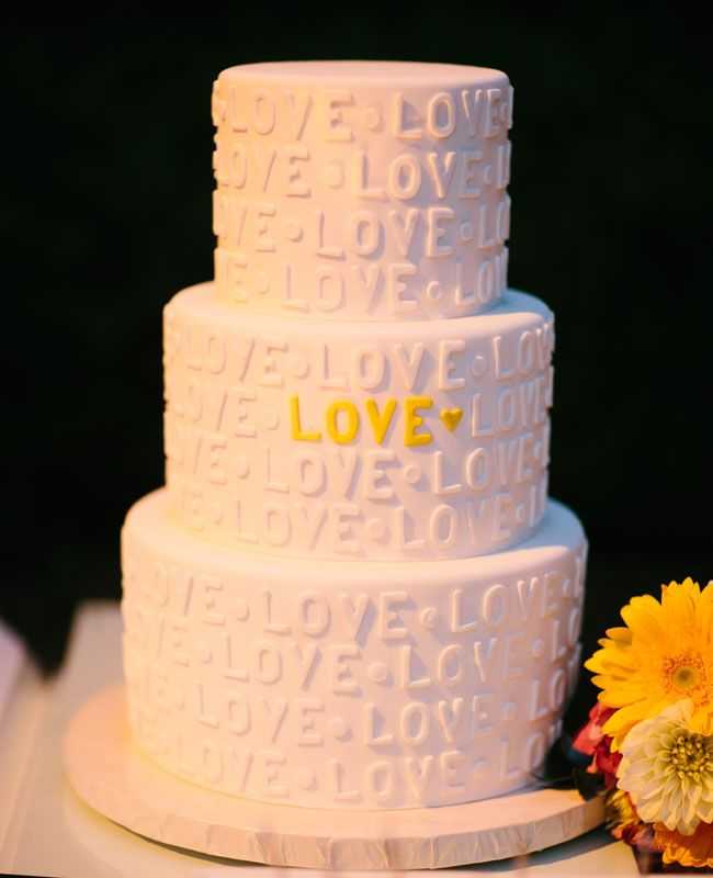 A L-O-V-E Cake | Heather Kincaid Photography | blog.theknot.com