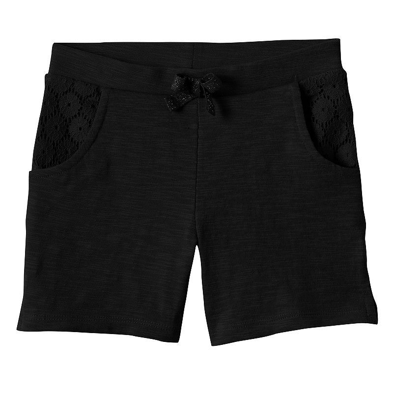 Toddler Girl Jumping Beans® Lace Trim Slubbed Bermuda Shorts, Size: 2T, Black