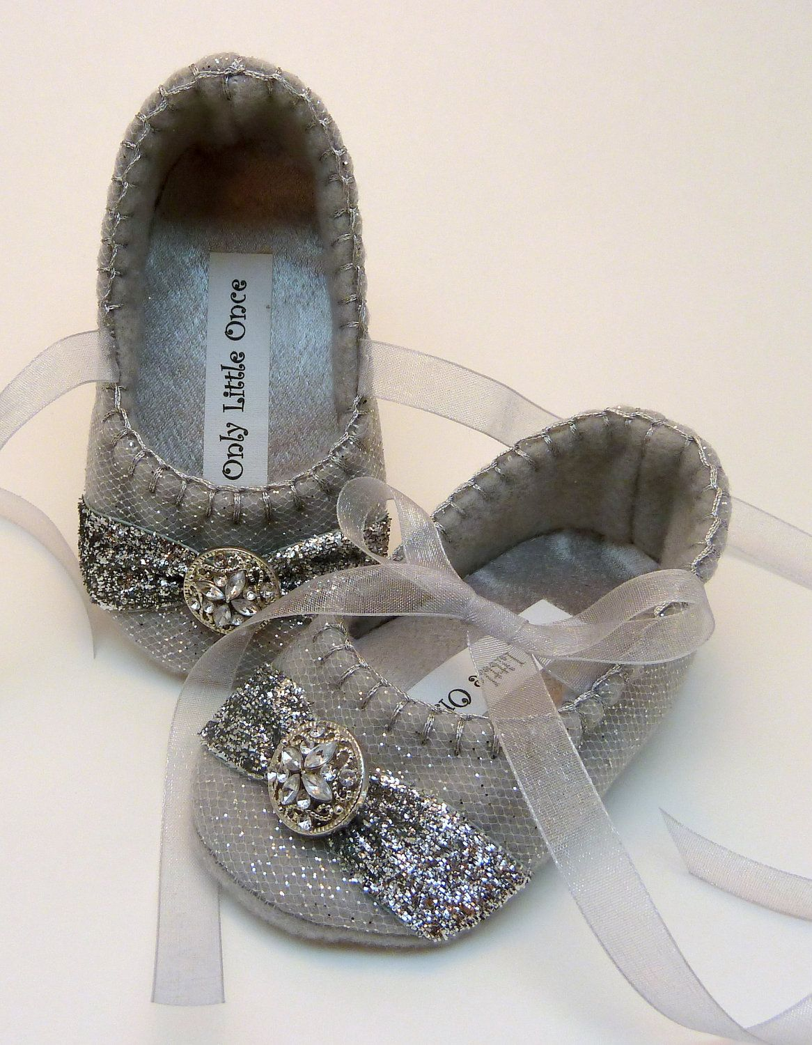 Silver sparkle christmas shoes by onlylittleonce on etsy