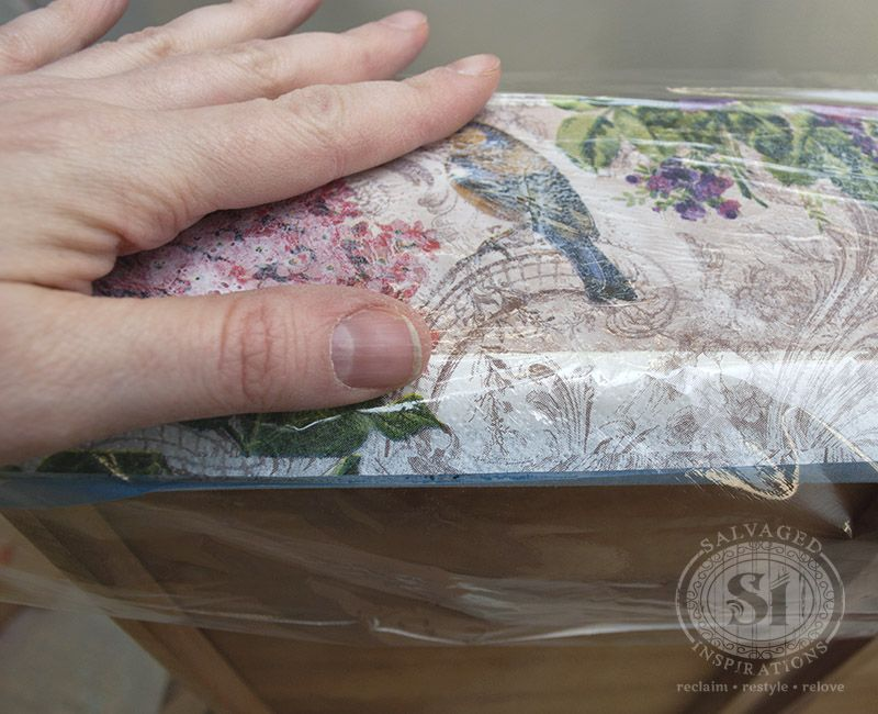 Decoupaged Drawers Use Plastic Wrap Over Paper To Smooth Down Design Without Tearing Delicate