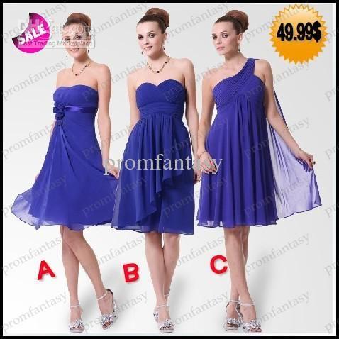 2016 Short Royal Blue Chiffon Bridesmaid Dresses Under 50$ Fall ...