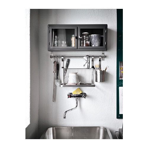 RÅSKOG Wandschrank, dunkelgrau, Glas Handtuchhalter, Stangen und - küchenschrank mit arbeitsplatte