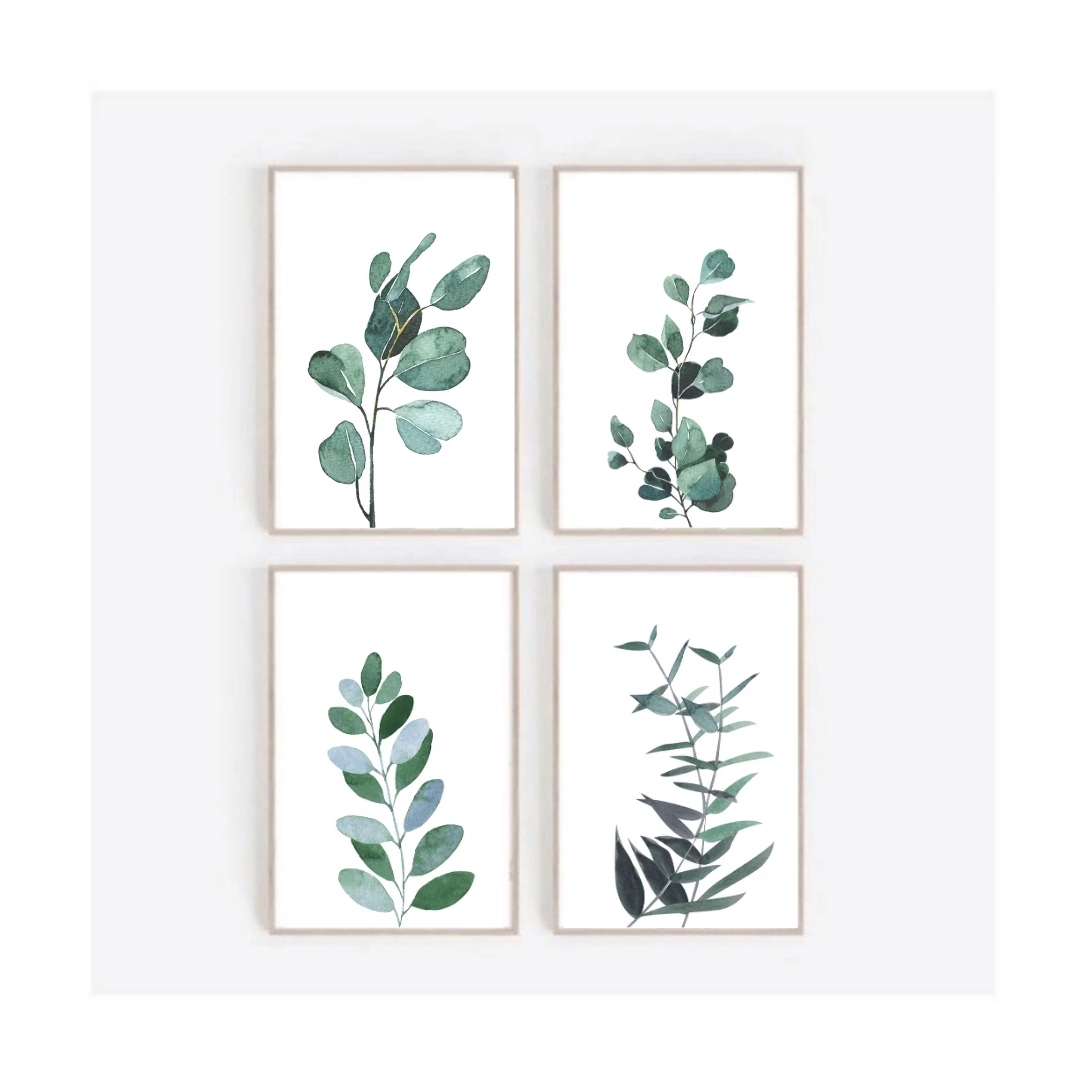 Photo of Botanical Wall Art,Set Of 4 Wall Art,Gallery Wall Prints,Eucalyptus Poster,Tropical Decor,Leaf print,Farmhouse Decor,Plant Wall Decor