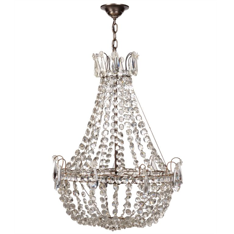 View this item and discover similar chandeliers and pendants for sale at a delicate antique chandelier made of swagged ropes of crystal rosettes accented