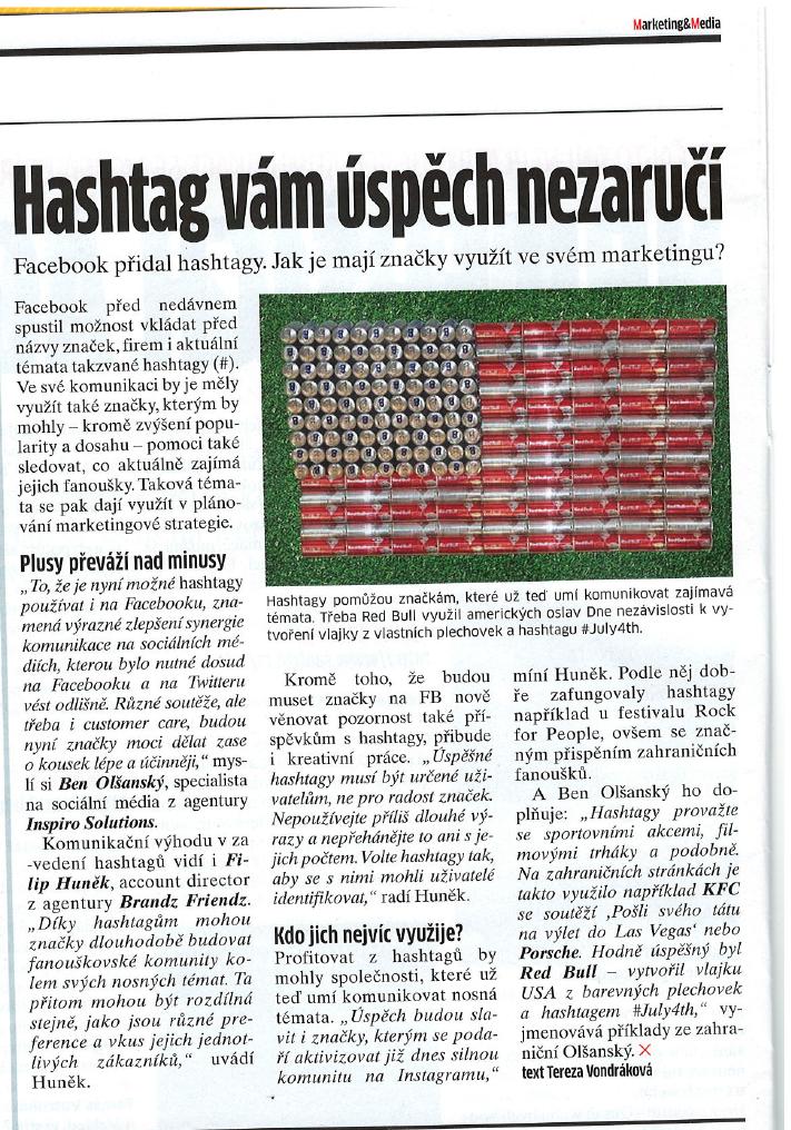 Článek u užití #hashtagů na Facebooku