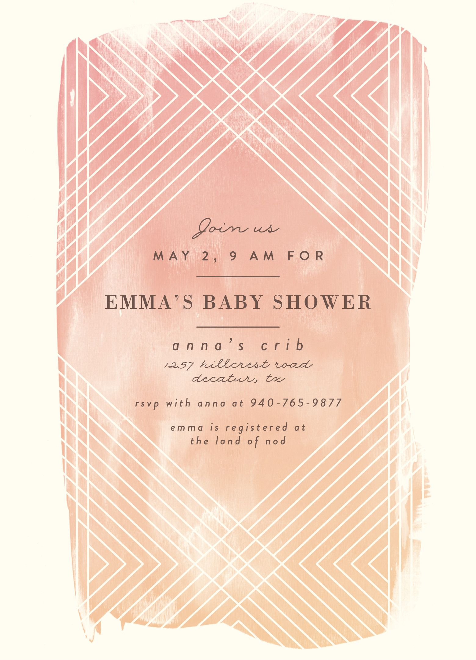Baby shower invitation A watercolor wash over a masked geometric