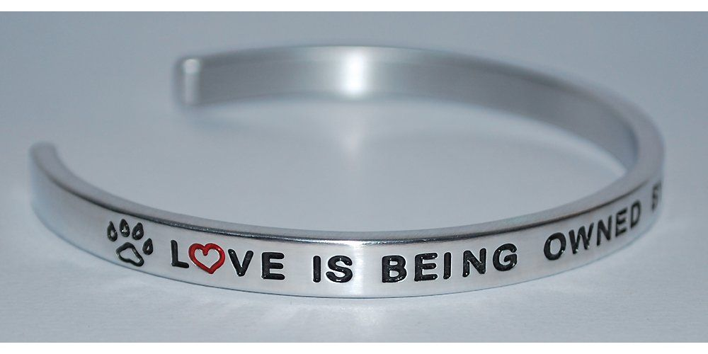 Love Is Being Owned By A Boston Terrier  :  Engraved Handmade Jewelry Bracelet Silver Color