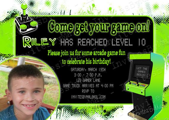 Arcade Video Game Party Birthday Party Invitation By Invitesbymal 15 00 Video Games Birthday Video Game Party Invitation Party Invite Template
