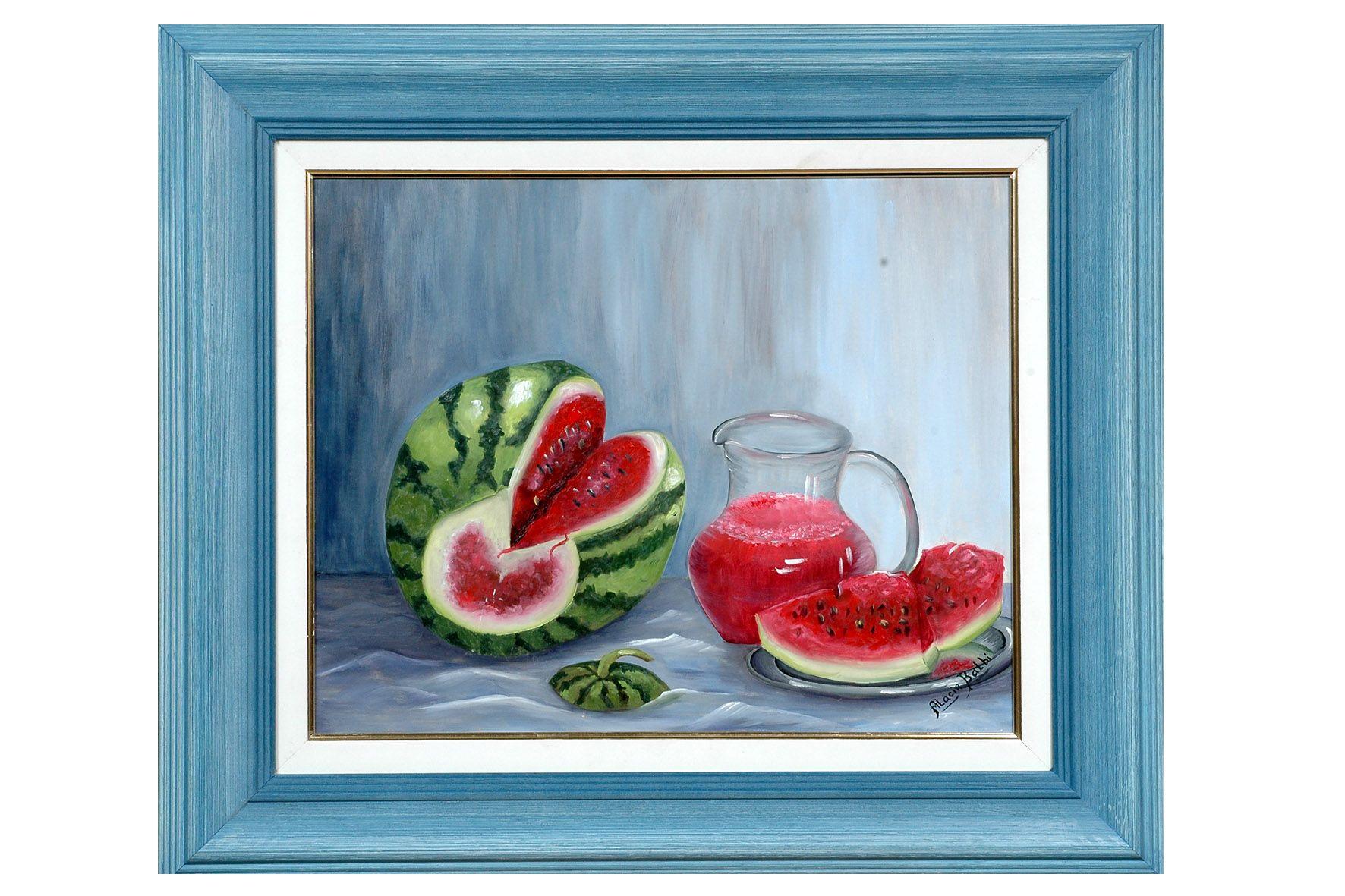 Pintura tela Melancia e suco de Alacir Balbi