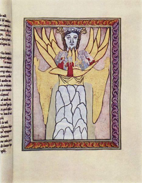 Hildegarde de Bingen, Le corps mystique.  (1098-1179) Religieuse et grande mystique allemande, elle est entrée au couvent à 8 ans et a consigné ses visions dans un carnet.