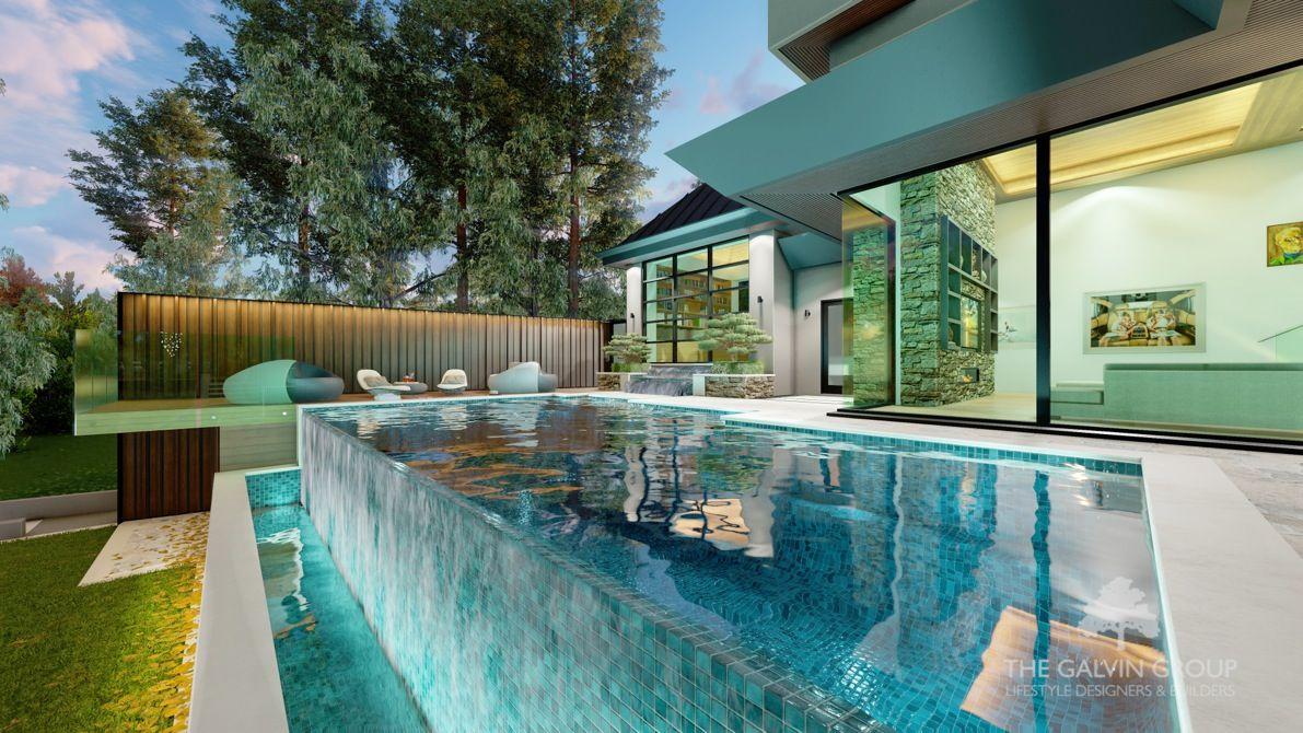 Dise o para residencia integrada en el paisaje con for Disenos de cascadas para piscinas