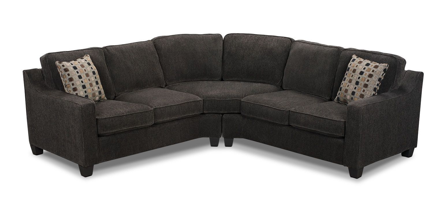 Living Room Furniture   Pierce Chenille 2 Piece Left Facing Sectional    Dark Grey
