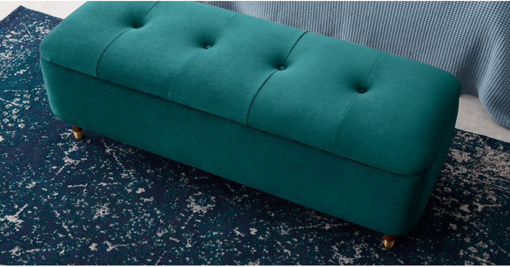 Astounding Margot Ottoman Storage Bench Seafoam Blue Velvet In 2019 Ocoug Best Dining Table And Chair Ideas Images Ocougorg