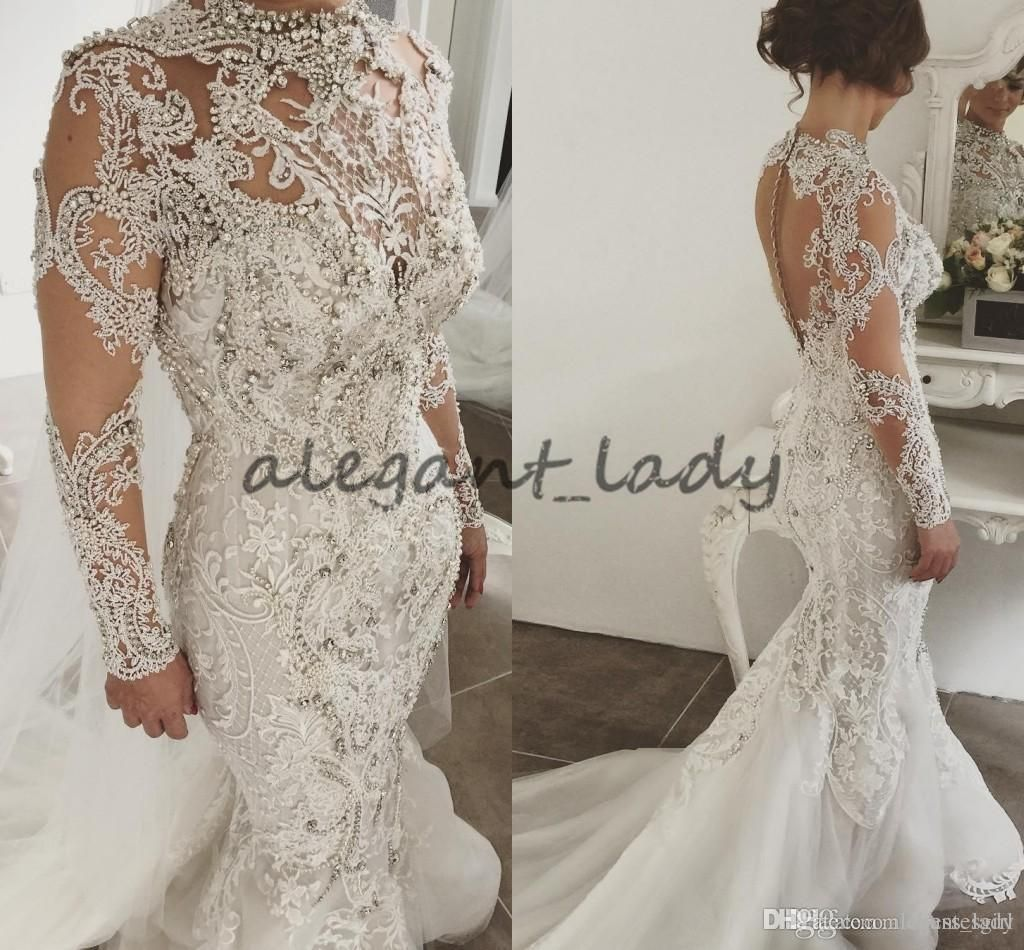 Luxury robe de marriage long sleeve wedding dresses high neck lace