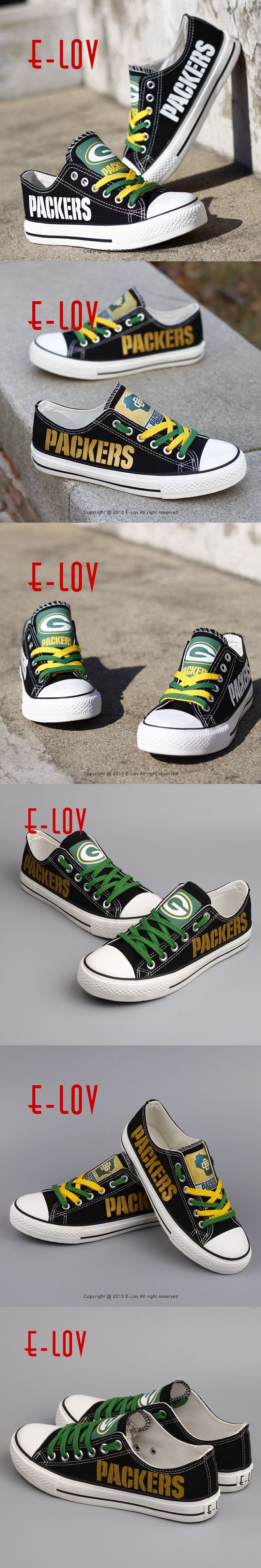 0d359d75d21 Wisconsin Green Bay Packers Super Bowl Printing Canvas Shoes Elite Aaron  Rodgers MVP Champ Fans Customize