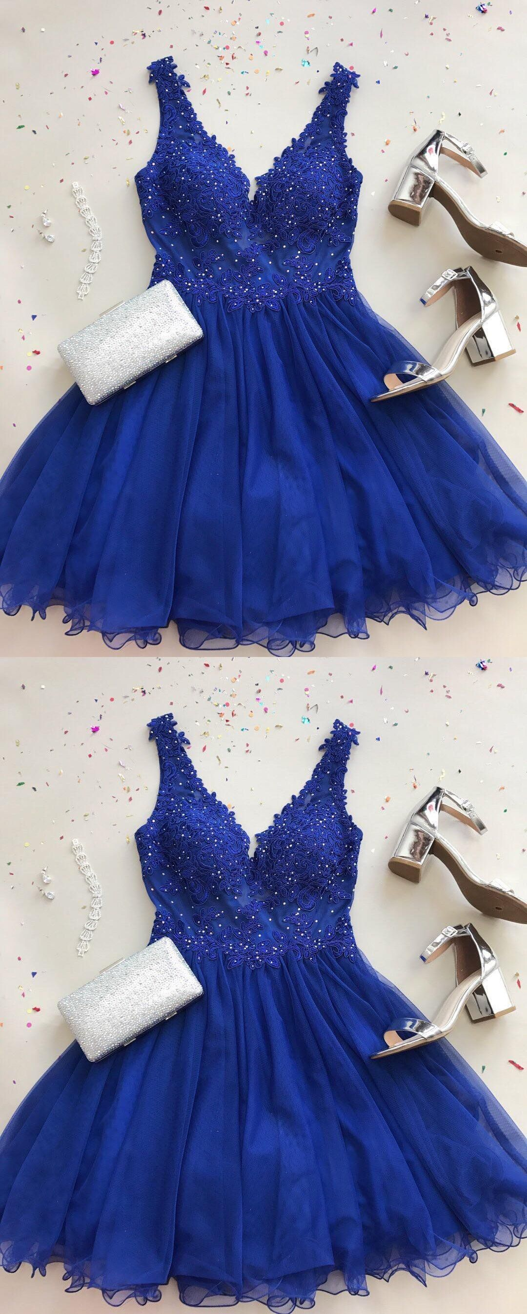 46d890c2699 V-Neck A-Line Royal Blue Chiffon Short Homecoming Dress with ...