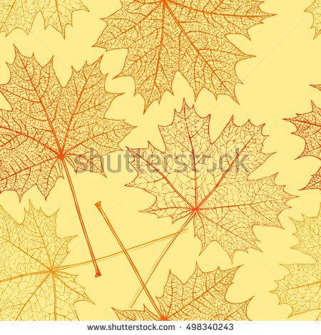 Seamless pattern - autumn maple leaf background. Autumn wallpaper. Vector illustration