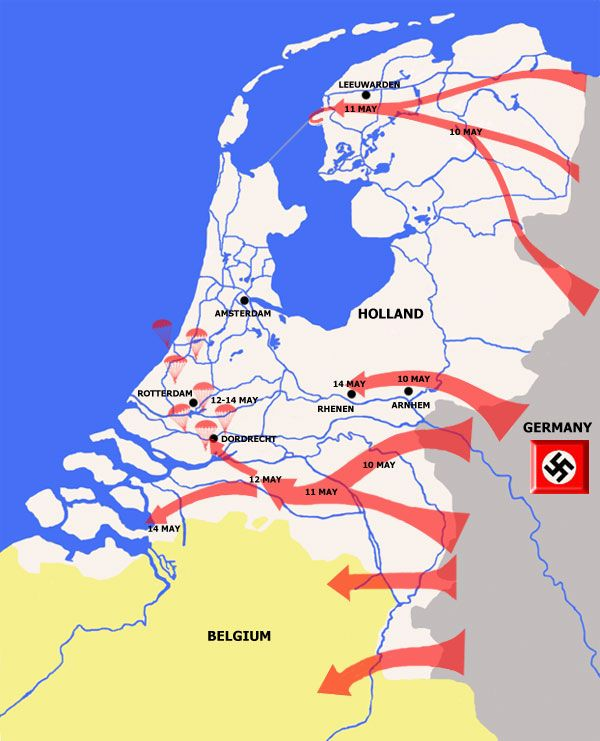 Map Of Germany And Holland.German Invasion Of Holland In May 1940 The So Called Westfeldzug