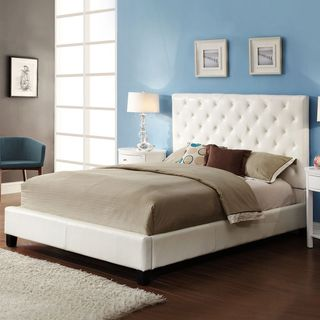 Sophie Tufted White Faux Leather Queen-size Platform Bed ...