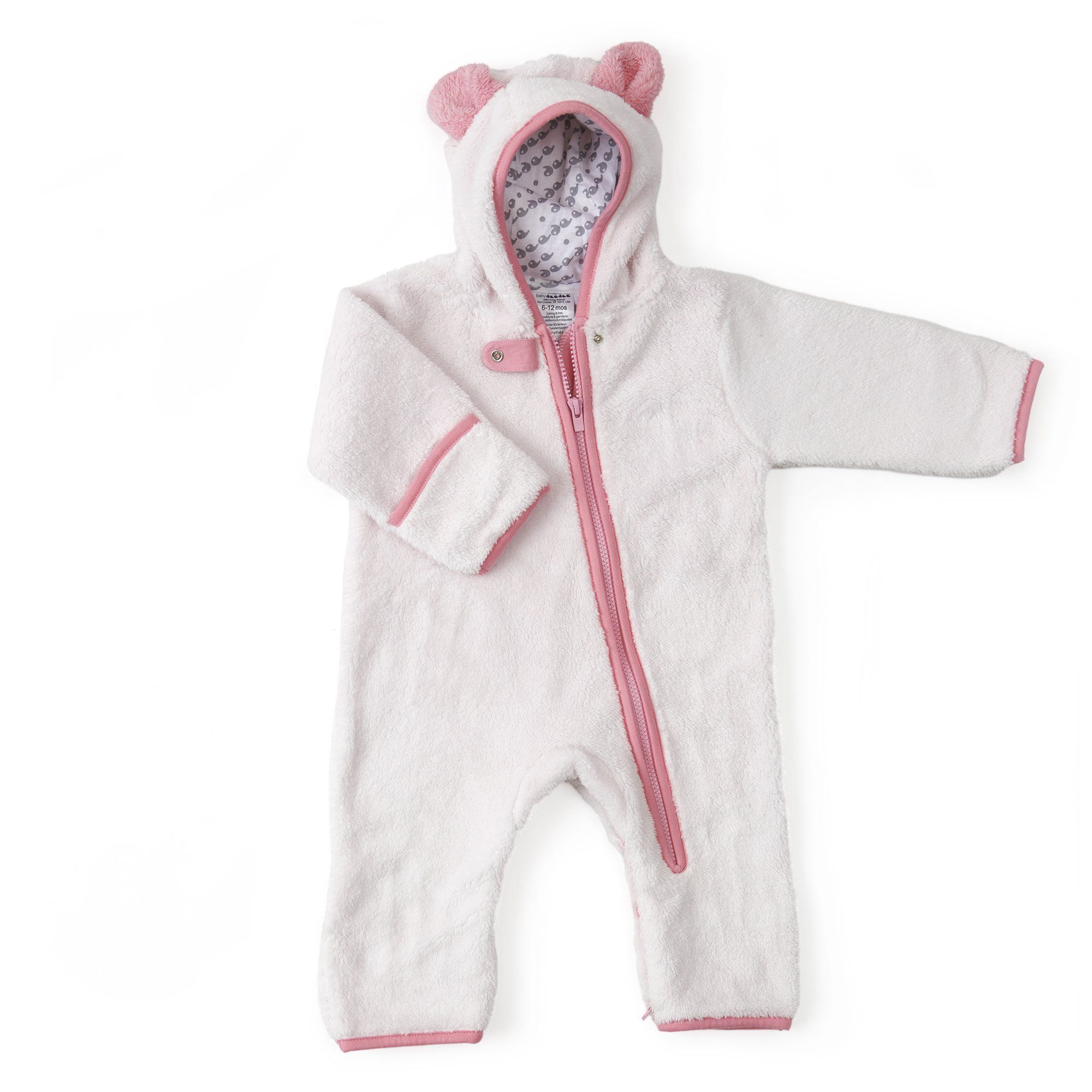 Furry bear buntings - 6-12 Months / Pink